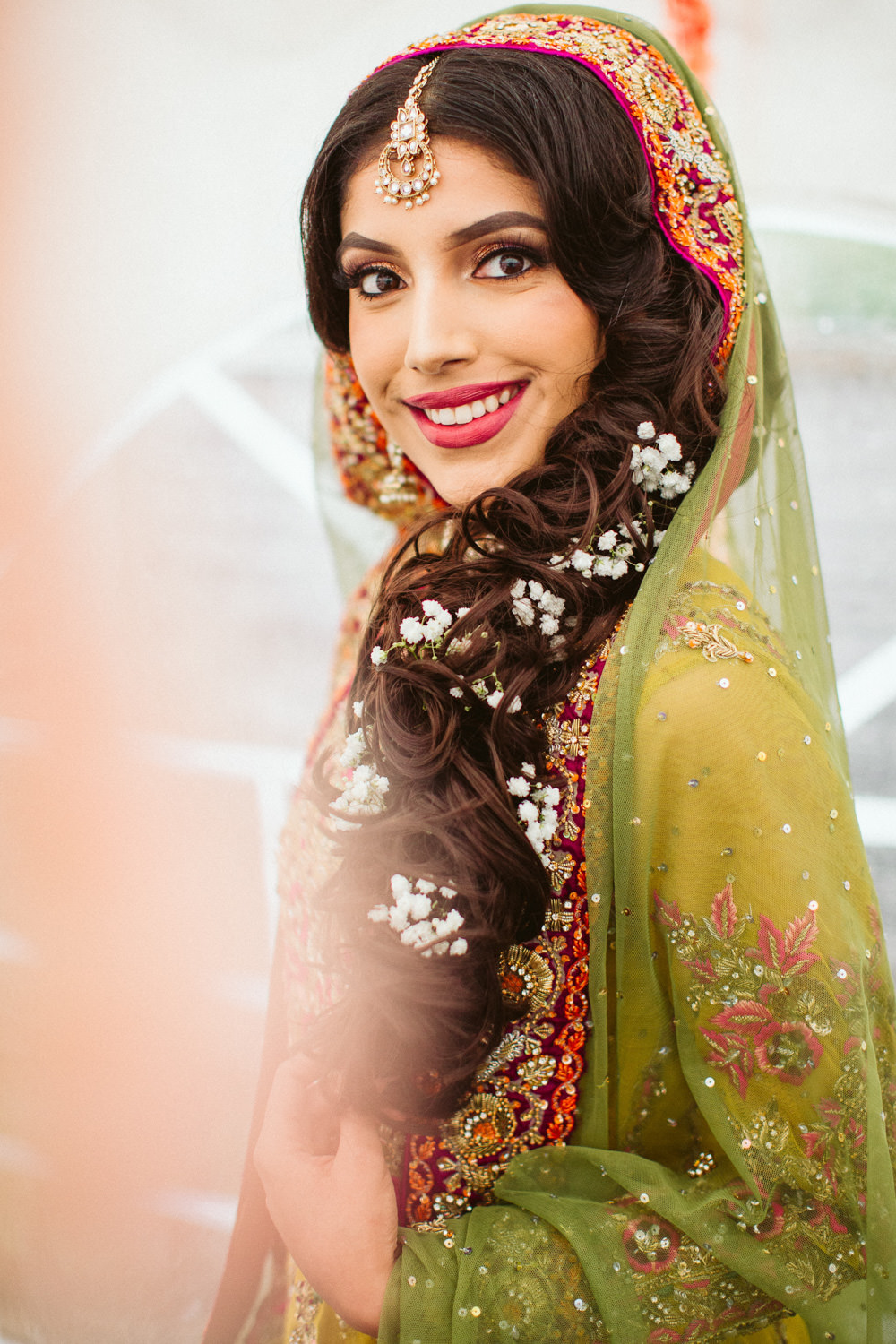 Gorgeous Asian Bride posing for bridal photos at her London Wedding